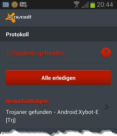 Avast für Android Trojaner gefunden