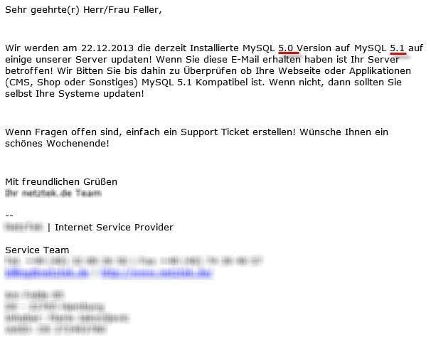 Infomail über Datenbankupgrade