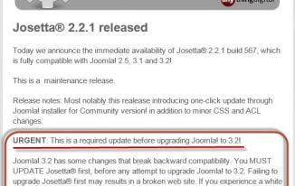 Joomla Erweiterungen – Kompatibilität für 3.2 doch schon nach 2 Monaten