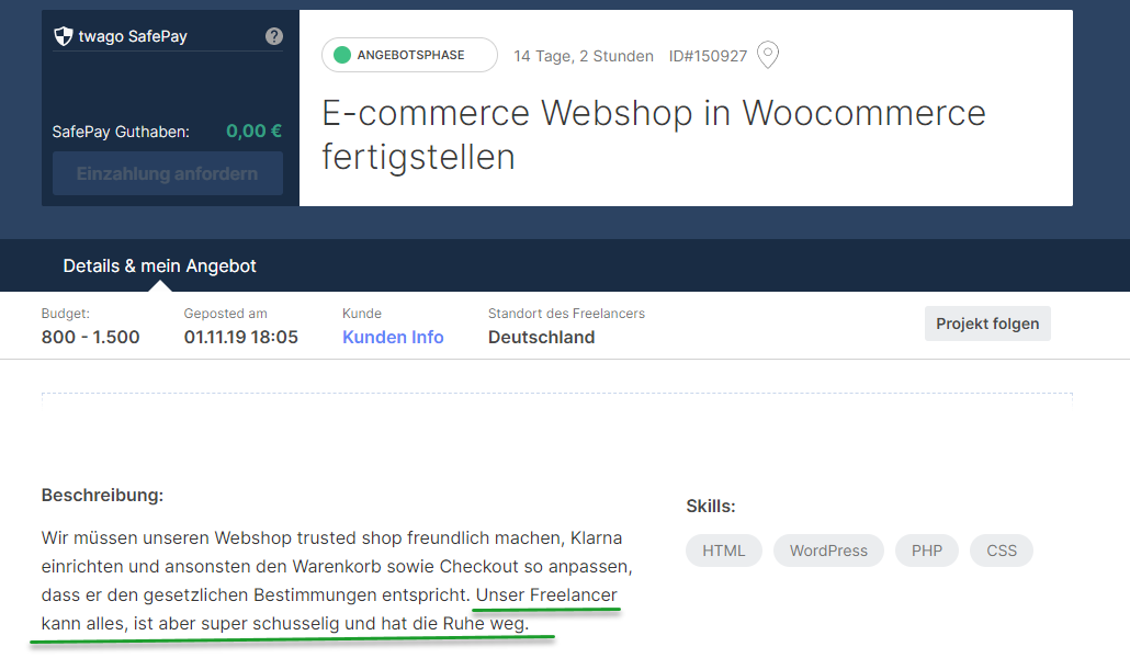 Ausschreibung bei Twago: E-Commerce Webshop in WooCommerce fertigstellen.